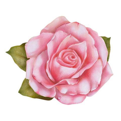Imagem de Aplique Decoupage Litoarte APM8-781 em Papel e MDF 8cm Flor Rosa