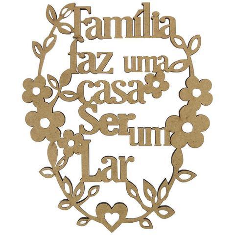 Imagem de Aplique em MDF Frase Família 16,5x13,4cm - Palácio da Arte