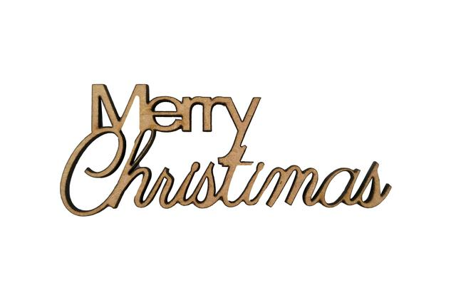 Imagem de Aplique Em MDF Palavra Merry Christmas Crú Natal 8,5 cm