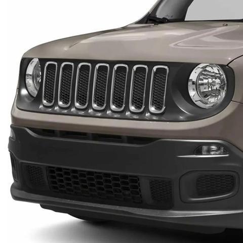 Imagem de Aplique Grade Jeep Renegade 2015 a 2018 Moldura Aro Frontal Cromado Kit