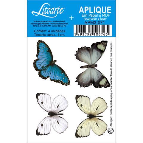 Imagem de Aplique MDF e Papel Litoarte 3 cm - Modelo APM3- 071 Borboleta