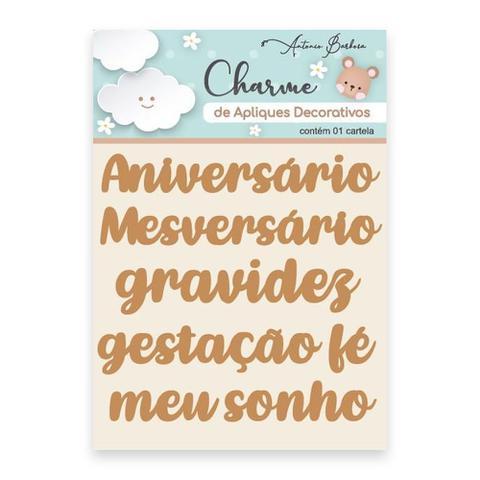 Imagem de Apliques Decorativos Em MDF Charme Antonio Barbosa Baby Palavras 7 unidades  200523