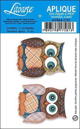 Imagem de APM4-035 Aplique Litoarte Em Papel E MDF - Corujas Patch