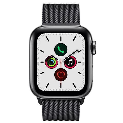 Imagem de Apple Watch  5 Cell+ GPS 40 mm, Aço Inoxid Cinza Espac, Puls de Aço Inoxid PretoFecho Magn MWX92BZ/A