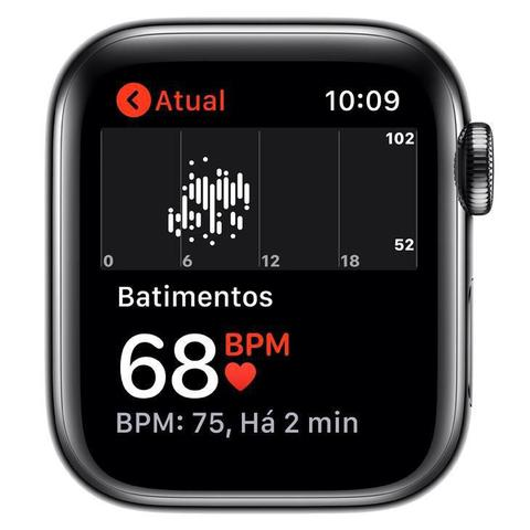 Imagem de Apple Watch 5 Cell + Gps, 40 mm, Aço Inoxid Cinza Espac, Puls Esportiva Preto/Fecho Clás Mwx82bz/a
