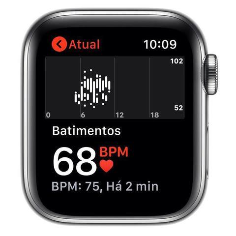 Imagem de Apple Watch Series 5 Cell GPS 40 mm Aço Inoxidável Prata, Puls Esport Branca Fecho Clás MWX42BZ/A