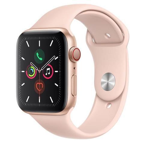Imagem de Apple Watch Series 5 CellulGPS, 44 mm, Alum Dourado Puls Esport Areia Rosa Fecho Clássico MWWD2BZ/A