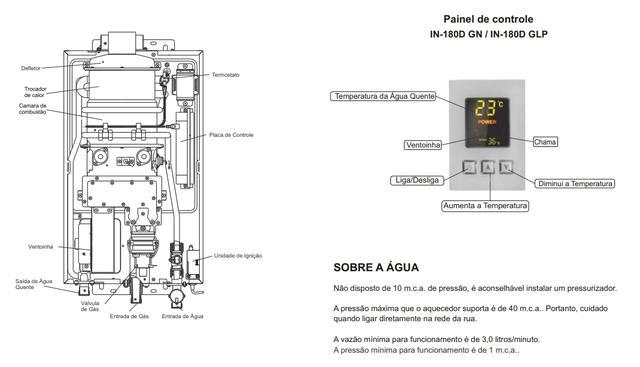 Imagem de Aquecedor A Gás Digital Bivolt 20l/min In-180d Glp Inova