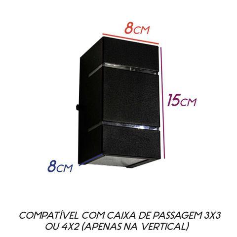 Imagem de Arandela 2 Focos E Frisos Externa Parede Muro Slim PRETA St427