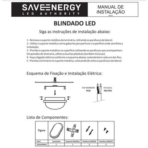 Imagem de Arandela Blindado LED Tartaruga  8W  3000K   Sauna Save Energy
