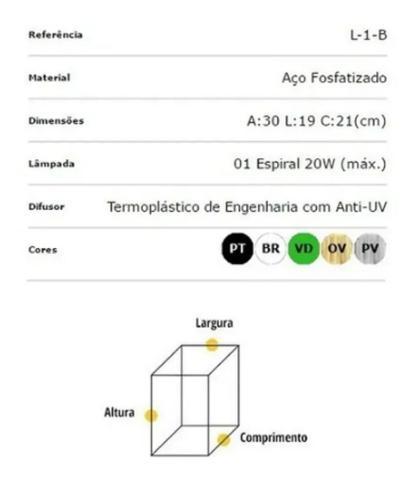 Imagem de Arandela Ideal Aço Sextavado de Parede L1B Cor Preto