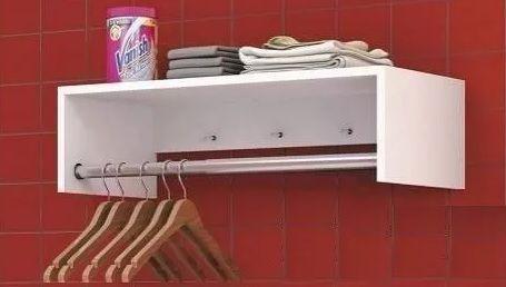 Imagem de Arara de roupas com cabideiro para decoração com kit de instalação fred planejados