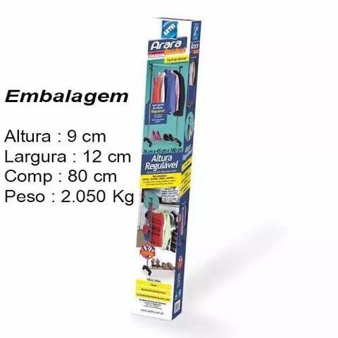 Imagem de Arara Roupas C/sapateira C/altura Regulável E RODINHAS- ARTHI 1833