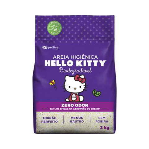 Imagem de Areia Higiênica Biodegradável Grossa para Gatos Hello Kitty Roxa - 2kg