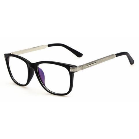 Imagem de Armação de Óculos para Grau Feminina Quadrada Preta Prateada