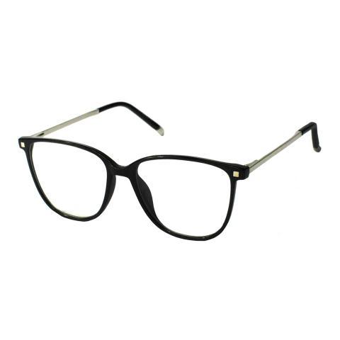 Imagem de Armação Óculos Grau Feminino Quadrado Retrô Preto 9811