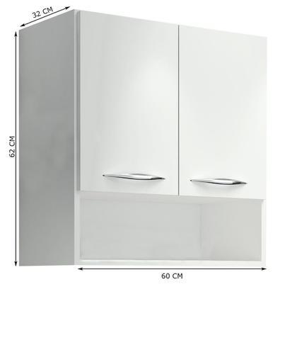 Imagem de Armário Aéreo 2 Portas Suspenso Parede Cozinha Lavanderia Branco - Girus móveis