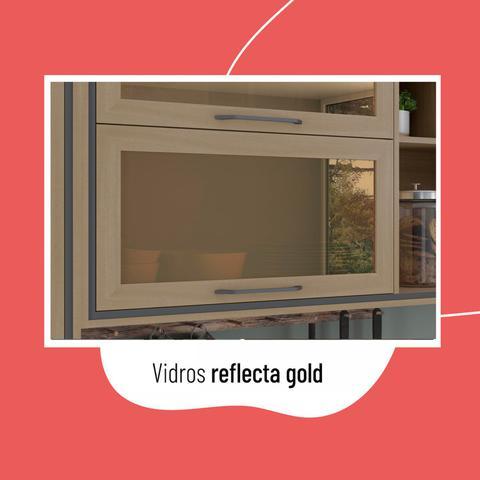 Imagem de Armário Aéreo 2 Portas Vidro com Nichos Canela Thela Salina