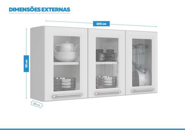Imagem de Armario Aéreo c/Vidro Cozinhas Itatiaia Luce - 3 Portas - Branco