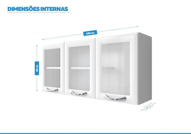 Imagem de Armário Aéreo c/Vidro Cozinhas Itatiaia Premium - 3 Portas - Branco