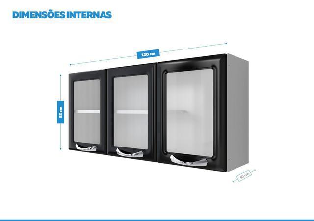 Imagem de Armário Aéreo c/Vidro Cozinhas Itatiaia Premium - 3 Portas - Preto