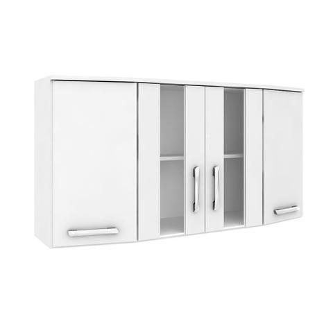 Imagem de Armário Aéreo de Cozinha Bruna Tridimensional 04 Portas Branco - Poquema