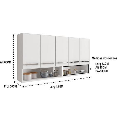 Imagem de Armário Aéreo Móveis De Cozinha Multiuso 5 Portas Branco
