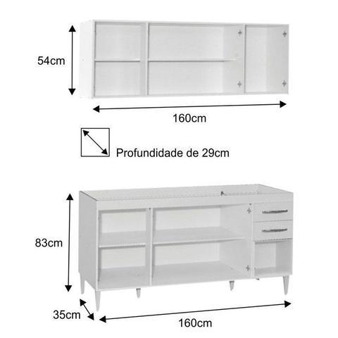 Imagem de Armário Aéreo Panamá e Balcão Gabinete de Pia Áustria 160cm Branco - Lumil Móveis