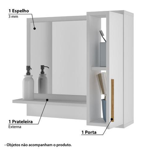 Imagem de Armário Aéreo Para Banheiro C/ Espelho 1 Porta 1 Prateleira BRV Móveis - Branco