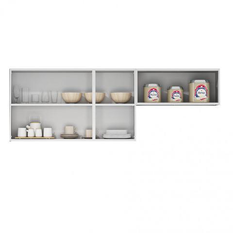 Imagem de Armário Aéreo para Cozinha 3 portas com 3 vidros e Armário 1 porta Basculante Tarsila Itatiaia Branco
