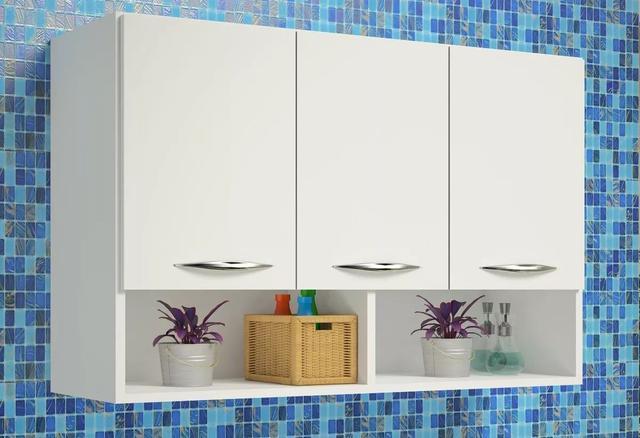 Imagem de Armário Aéreo Para Cozinha ou Lavanderia com 3 Portas e Nicho Branco