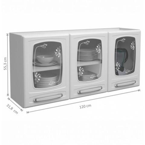 Imagem de Armário Aéreo Triplo em Aço Carbono Mais Evidence 3 Portas com Vidro Bertolini