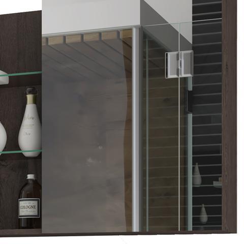 Imagem de Armário Banheiro 80 cm com Espelho Jasmin MGM Café