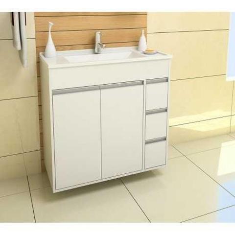 Imagem de Armario Banheiro  80cm Style Branco Kit Gabinetto