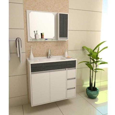 Imagem de Armario Banheiro  80cm Style Branco X Ebano Kit Gabinetto