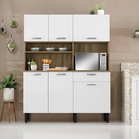 Imagem de Armario Cozinha Kit 140 Itatiaia 6 Pts e 1 Gv Castanho/Branco
