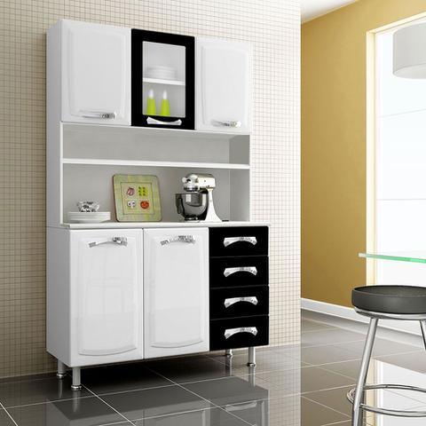 Imagem de Armário De Aço 1 Porta Com Vidro Premium Branco e Preto Itatiaia Móveis