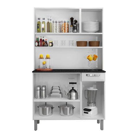 Imagem de Armário de Aço Para Cozinha Rose Branco e Preto Itatiaia Móveis