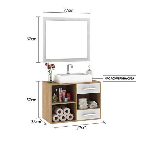 Imagem de Armário de Banheiro 1 Porta 2 Gavetas 80 Cm Gb02 Caravalho/Branco - Pnr Móveis