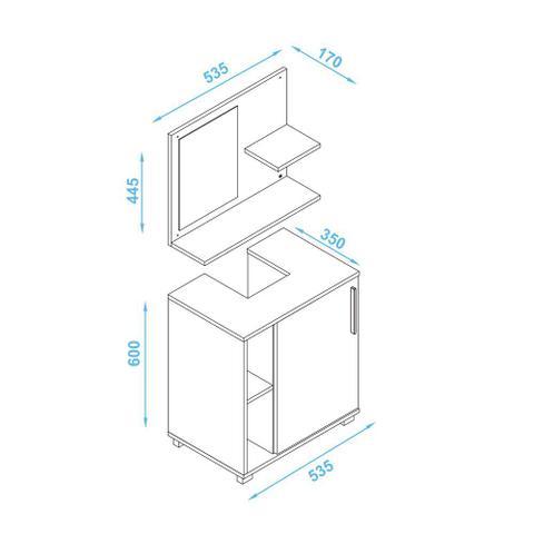 Imagem de Armário de banheiro 1 porta bbn19 branco - brv móveis