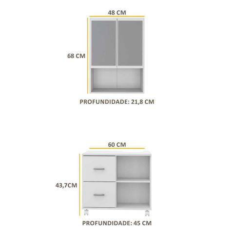 Imagem de Armário de Banheiro com espelho e 2 portas e Balcão de Pia Multimóveis Branco