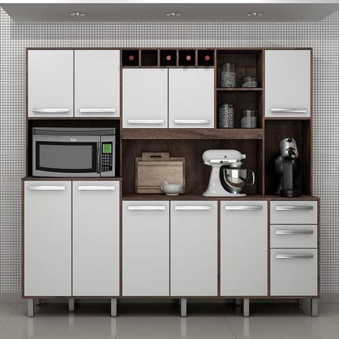 Imagem de Armário De Cozinha 11 Portas e 2 Gavetas Petra Castanho/Branco - Valdemóveis