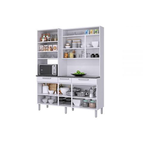 Imagem de Armário de Cozinha 6 Portas 1 de Vidro 3 Gavetas Regina Itatiaia Branco