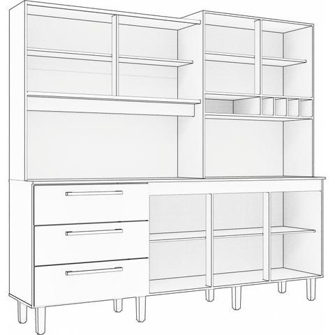 Imagem de Armário de Cozinha 6 Portas 3 Gavetas Mega Siena Móveis Branco/Bordô