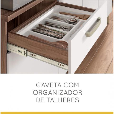 Imagem de Armário de Cozinha 7 Portas 2 Gavetas Master Nesher Móveis Branco/Madeirado
