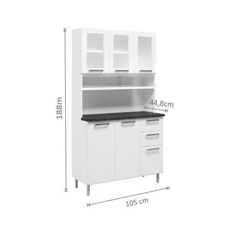 Imagem de Armário de Cozinha Aço 8 Portas 5 Portas de Vidro 2 Gavetas Múltipla Bertolini Branco