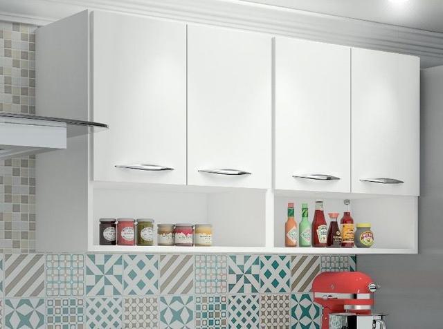 Imagem de Armário de Cozinha Aéreo 4 Portas e 2 Nichos Branco