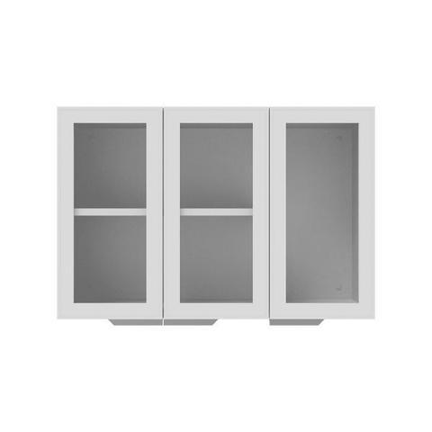 Imagem de Armário de Cozinha Aéreo Colormaq Roma 3 Portas 70,5x105cm em Aço e Vidro