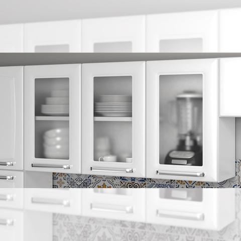 Imagem de Armario de Cozinha Aereo Itatiaia Luce 3 Portas 3 Vidros Branco IPV3-105