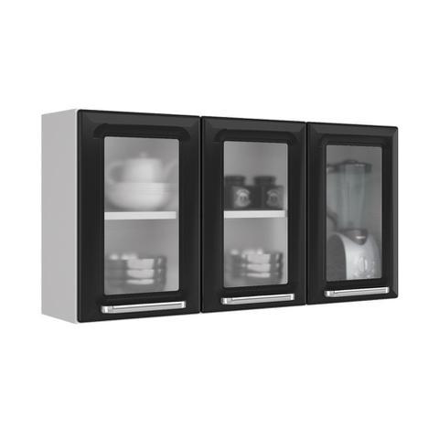 Imagem de Armario de Cozinha Aereo Itatiaia Luce 3 Portas 3 Vidros Preto IPV3-105